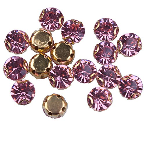 Rose Pink Glass Rhinestones - ZIJING 30pcs Gold Setting Light Pink Color Glass Rhinestone Rose Montees Beads with 4 Holes for Sew On SS35 (Clear Pink-30pcs)