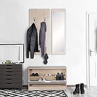 FineBuy Wand-Garderobe JAN mit Garderobenpaneel Spiegel & Schuhkipper 80 cm  breit 27 cm schmal Sonoma Eiche   Flurgarderobe Garderobenset Modern ...