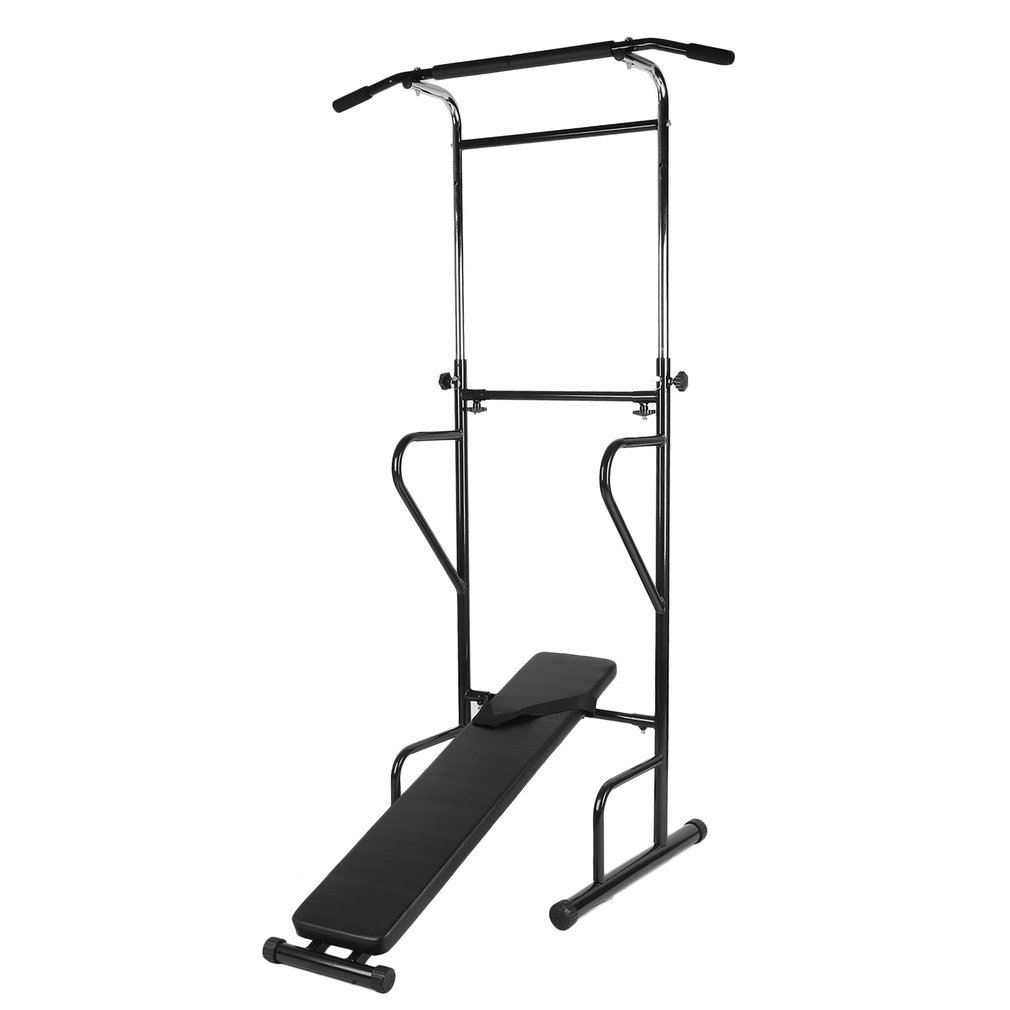 Nexttechnology Power Tower Heavy Duty Pull Up Dip Station Fitness Workout Tower Exercise Machine with Bench (Grey)
