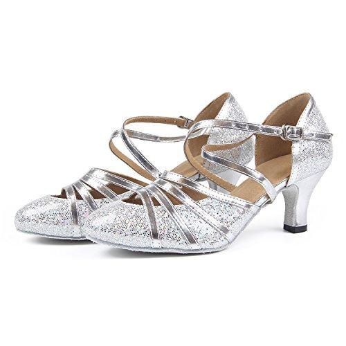 Dancing Women's Syrads Heel Dancing Social Latin Sandals Shoes 6cm Silver Waltz Shoes Dance Heel Ballroom Indoor Tango Party Salsa High 1xxRwrad