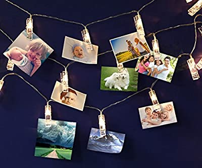 LED String Lights LED Photo Clip Lights 20 LED photo clip String lights Battery Operated for hanging photos Fairy Starry String Lights for Party Wedding Birthday Christmas Thanksgiving Home Decoration