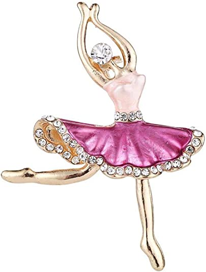 MXUHUI Rhinestone Ballet Dancer Brooches for Women Girls Fashion Crystal Gold Tone Alloy Dancing Ballerina Brooch Pins Elegant Dress Accessories Jewelry Wedding Birthday Christmas