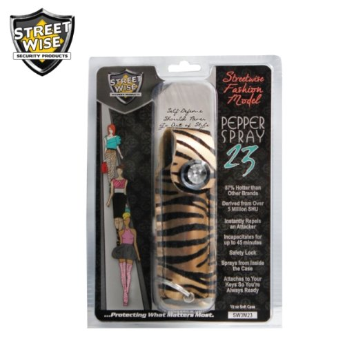 Pepper Spray Keychain Designer Fashion Model Self Defense Spray (Police Strength Pepper Spray) Zebra Print (Zebra Print - Tan & Black (SW3MTBZ23))