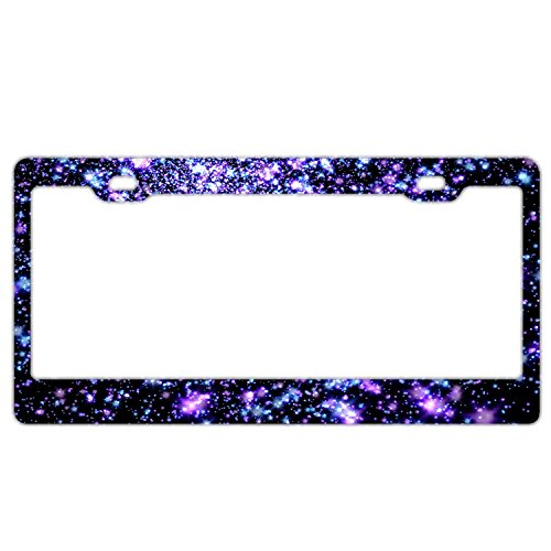 Space Purple Stars Customized Car License Plate Frame For Women Pretty Cute Auto License Plate Frame ()