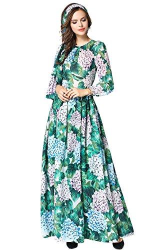 (LAI MENG FIVE CATS Women's Floral Print Round Neck Long Sleeve Maxi Boho Casual Tiered Hem Dress)