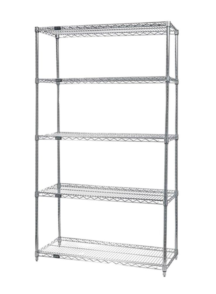 Quantum Storage Systems Home Storage WireShelving 5 Shelf Starter Unit 304 Stainless Steel- 18'' x 72'' x 63''
