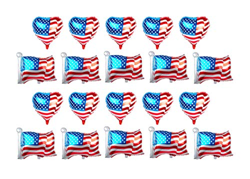 SummitLink Combo Pack of 20 American Flag Balloons PE Helium Foil Balloon Mylar (Two Styles, 10x Heart Shaped 20