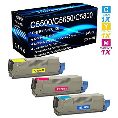 3-Pack Replacement for OKI C5800 C5800n C5800ldn C5800dln Print Cartridge Compatible Okidata 43324401 43324402 43324403 Toner Cartridge High Yield (C+Y+M), by KDNETS 43324403 High Yield Toner