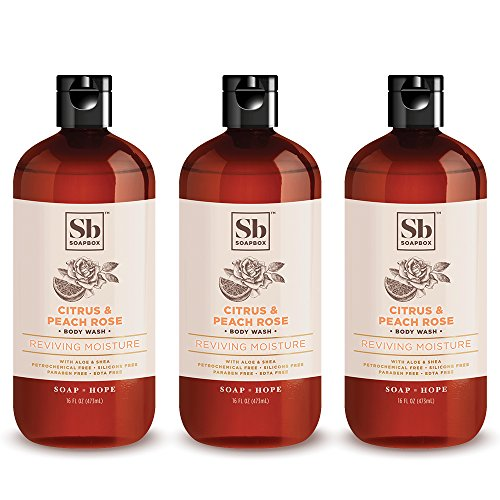 SoapBox Soaps Body Wash, Citrus & Peach Rose, 3 Count
