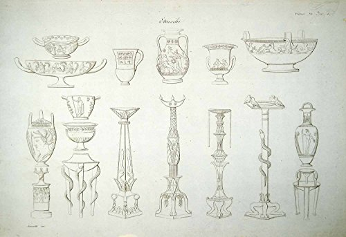 Pottery Candlestick (1833 Copper Engraving Art Ancient Etruscan Archaeology Pottery Candlestick ILC1 - Original Copper Engraving)
