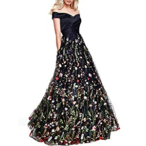 YSMei Women's Backless Long 3D Flower Prom Party Gown