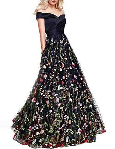 (YSMei Women's Off Shoulder Long Evening Dress Floral Tulle Party Gown Satin top-Black)
