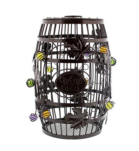 "Decorative Wine Barrel Cork Holder – 100+ Cork Capacity – 10"" x 7"" Inch Wine Cork Collector Countertop Catcher Cage (Cage Cork Wine)"