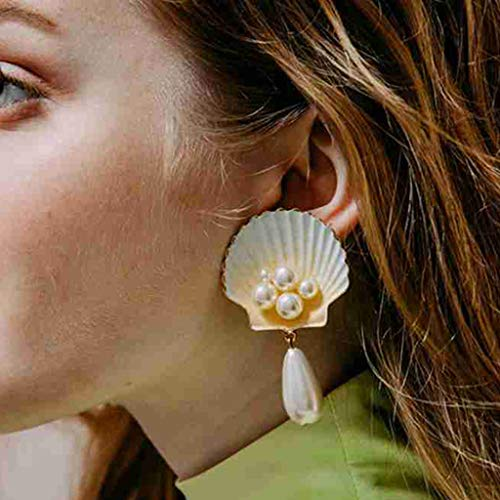 Personality Simple Pearl Shell Metal Scallop Star Earrings Ladies - Scallop Sterling Silver Ring Shell