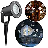 LED Xmas Landscape Projector,Snowflake Lamp Waterproof Spotlight White Light Moving Lighting Outdoor Indoor for Christmas Halloween Garden Holiday Home Wall Party Weddings Decoration
