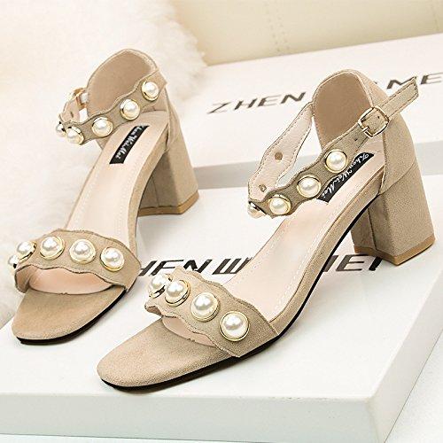 Exposés Beige chaussures femmes version coréenne de l élégante bracelet de fine fine avec vidéo exposés à hauts talons sandales Satin pearl bracelet fendu Beige a3e3afb - digitalweb.space