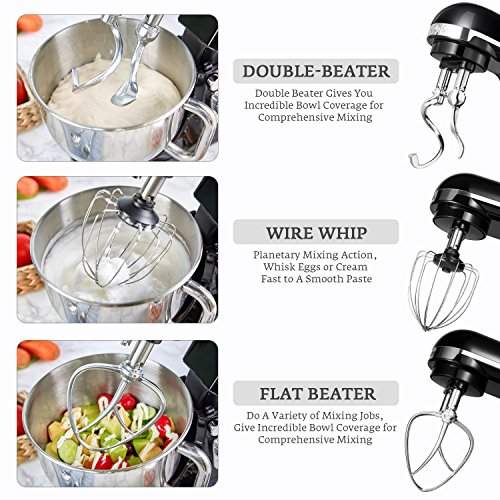 Stand Mixer, Aicok Dough Mixer with 5 Qt Stainless Steel Bowl, 500W 6 Speeds Tilt-Head Food Mixer, Kitchen Electric Mixer with Double Dough Hooks, Whisk, Beater, Pouring Shield, Black by AICOK (Image #5)