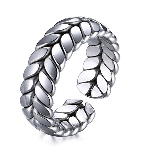 (JAJAFOOK Womens Two Tone Durable Stainless Steel Simple Wheat Design Cuff Opening Wedding Bands Ring,7MM)