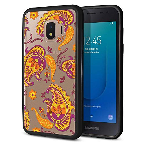 FINCIBO Case Compatible with Samsung Galaxy J2 Core J260 5 inch 2018, Slim Shock Absorbing TPU Bumper + Clear Hard Protective Case Cover for Galaxy J2 Core - Yellow Paisley