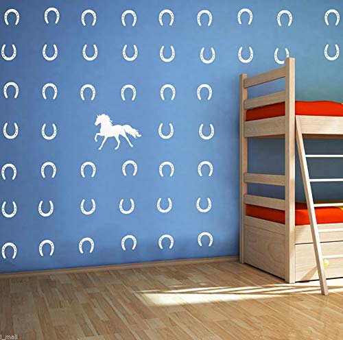 Melissalove Horse & Horseshoes Removable Wall Decor Stickers Vinyl Decal Kids Room Boys Bedroom Wall Art Decals DIY Sticker Home Decor D482 (White)