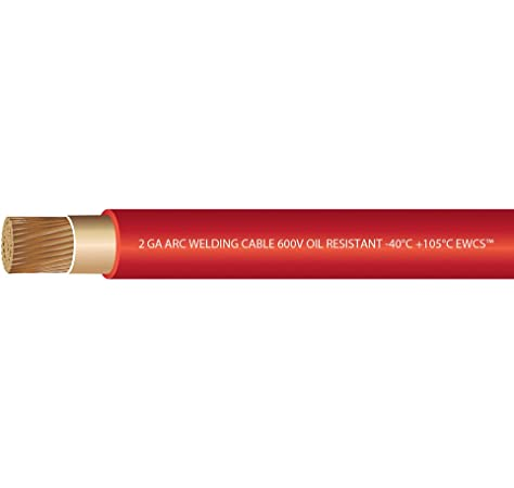 Ewcs 2 Gauge Premium Extra Flexible Welding Cable 600 Volt Red 20 Feet Made In The Usa Amazon Com