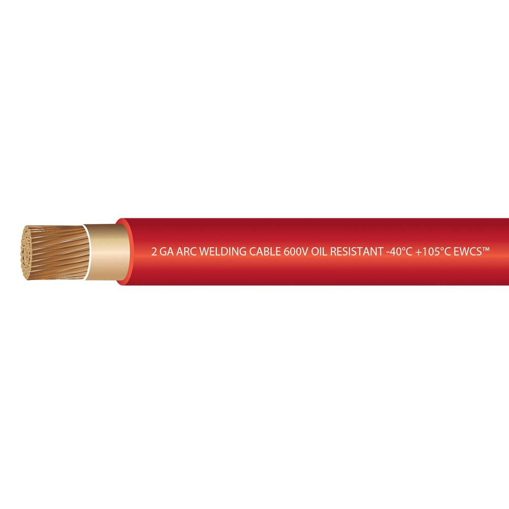 EWCS 2 Gauge Premium Extra Flexible Welding Cable 600 Volt - Red - 25 Feet - Made in the USA by EWCS