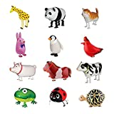Sharlity Farm Animals Balloons - Balloons Air Walkers Giraffe, Panda,Cat,Rabbit,Penguin,Rooster, Pig,Horse,Cow,Frog,Beetle,Tortoise,For Kids Gift Birthday Party Decor