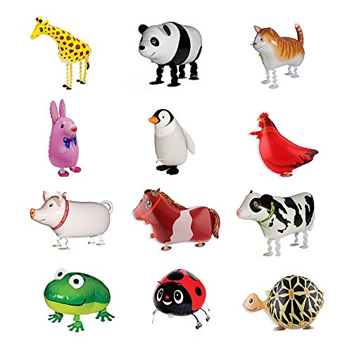 Sharlity Farm Animals Balloons - Balloons Air Walkers Giraffe, Panda,Cat,Rabbit,Penguin,Rooster, Pig,Horse,Cow,Frog,Beetle,Tortoise,For Kids Gift Birthday Party Decor by Sharlity