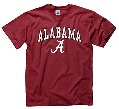 Campus Colors Alabama Crimson Tide Adult Arch & Logo Soft Style Gameday T-Shirt - Crimson, Large