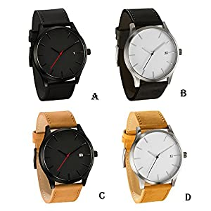 Han Shi Mens Quartz Wristwatch, Fashion Popular Low Key Minimalist connotation Leather Clock