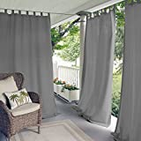 gazebo curtains with velcro Elrene Home Fashions Indoor/Outdoor Solid Tab Top Single Panel Window Curtain Drape, 52