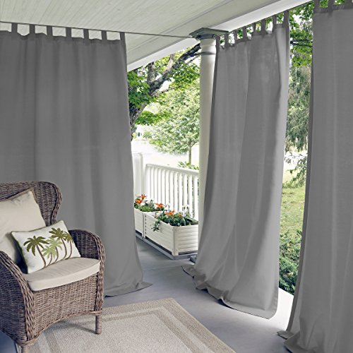 "Elrene Home Fashions Indoor/Outdoor Solid Tab Top Single Panel Window Curtain Drape, 52""X84"", Gray"