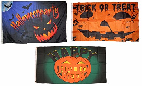 ALBATROS 3 ft x 5 ft Happy Halloween 3 Pack Flag Set #64 Combo Banner Grommets for Home and Parades, Official Party, All Weather Indoors -