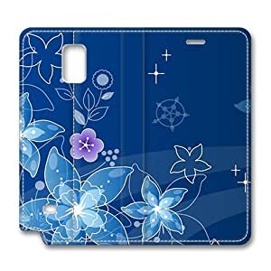 Brain114 Fashion Style Case Design Flip Folio PU Leather Cover Standup Cover Case with Blue Dreamy Flowers Pattern Skin for Samsung Galaxy Note 4