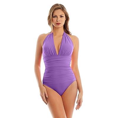 Magicsuit Women's Magic Solids Claudia One Piece Halter Swimsuit Lavender 8 at Women's Clothing store