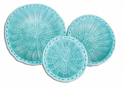 (Colorbasket Hand Woven Waterproof Bowl Food Basket Sky Blue)