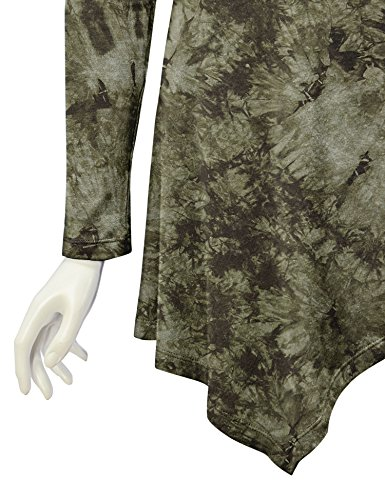 WT1062 Womens V Neck Long Sleeve Tie Dye Handkerchief Hem Tunic XXXL OLIVE by Lock and Love (Image #3)