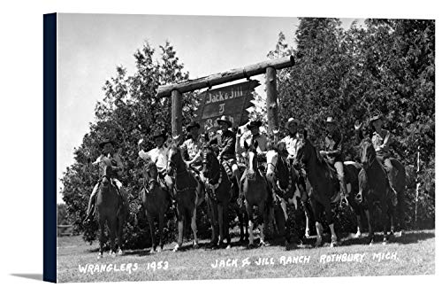 (Rothbury, Michigan - Wranglers at the Jack and Jill Ranch (18x11 5/8 Gallery Wrapped Stretched Canvas))