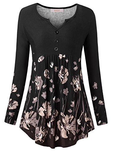 WAJAT Women's Long Sleeve V Neck Front Pleated Flared Comfy Loose Tunic Top Black Floral L Ladies Western Shirt