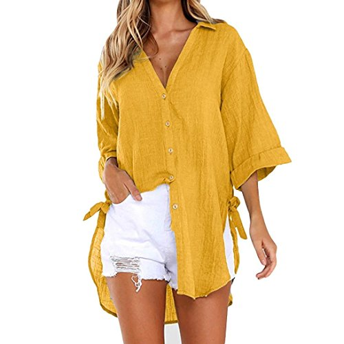 Women Loose Button Long Sleeve Shirt Dress Cotton Linen Blouse Casual Solid Top (L, Yellow) (Satin Bow Tank Top)