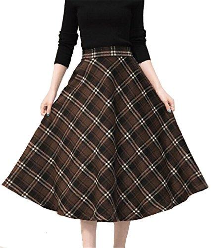 e Geometric Thicken Suede Zip Up Midi Plaid Skirts (Brown Plaid Skirt)