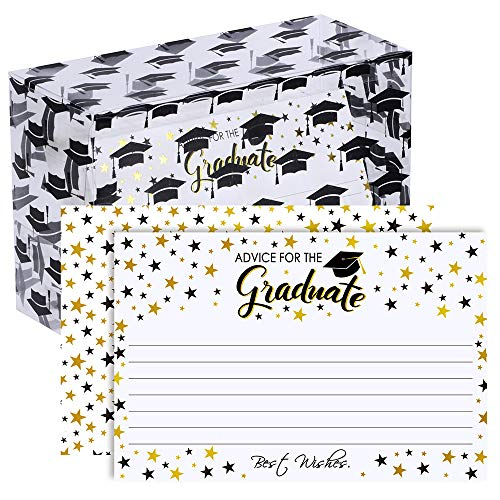 Supla 70 Pcs Graduation Cards Advice Cards Well Wishes Cards Wishing Cards Words of Wisdom Cards White and Gold Foil Cards with Box Memory Cards Advice for High School College Graduation Party Cards
