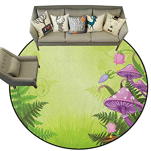 (Mushroom,Floor mats for Trucks Magic Landscape with Mushrooms Flowers in The Fresh Forest Ferns Cartoon Print D60 Door Mat Living Room Non-Slip)