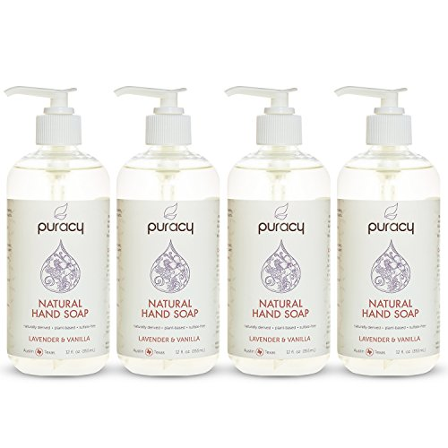 Puracy Natural Liquid Hand Soap, Sulfate-Free Hand Wash, Lavender and Vanilla, 12 Ounce Pump Bottle, (Pack of 4)