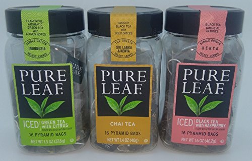 Flavored Tea Assortment ~ Chai ~ Green Tea with Citrus ~ Black Tea with Real Raspberry, by PURE LEAF 16 bags each in air tight canister by Pure Leaf