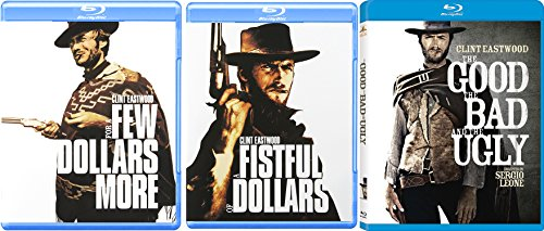 Clint Eastwood Blu Ray The Good The Bad & The Ugly A few more dollars Western Action Pack 3 Movie Set Fistful of Dollars