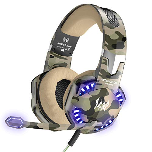 (VersionTECH. Stereo Gaming Headset for PS4 Xbox One, Professional 3.5mm Over Ear Headphones with Mic and Volume Control, Stunning LED Lights, Works with Laptop PC and Nintendo Switch Games - Camo)