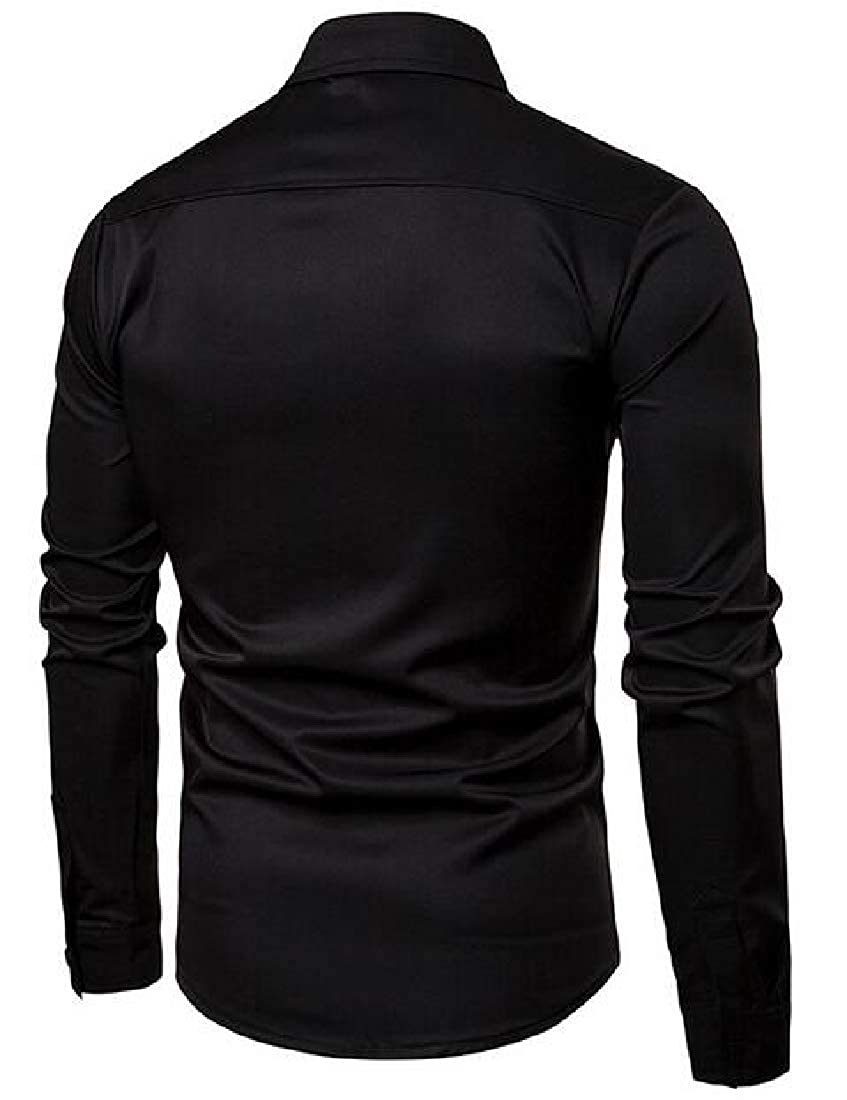 Xswsy XG Mens Leisure Slim Fit Long Sleeve Solid Color Shirt Button Down Shirts