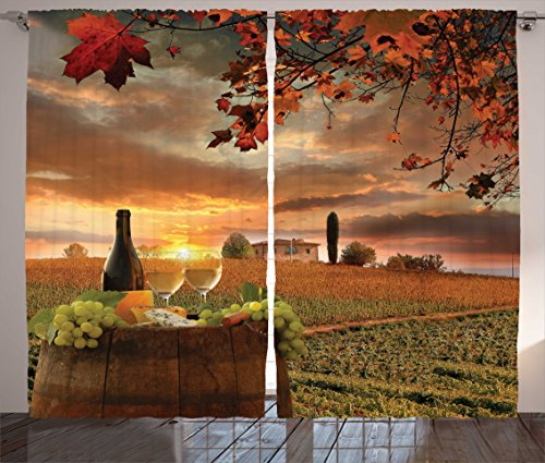 Lunarable Winery Curtains, White Wine with Barrel on Vineyard at Sunset in Chianti Tuscany Italy, Living Room Bedroom Window Drapes 2 Panel Set, 108 W X 96 L inches, Apple Green Orange Brown -