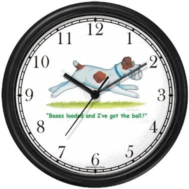 Jack Russell Parson s Terrier Dog Cartoon or Comic – JP Animal Wall Clock by WatchBuddy Timepieces Black Frame